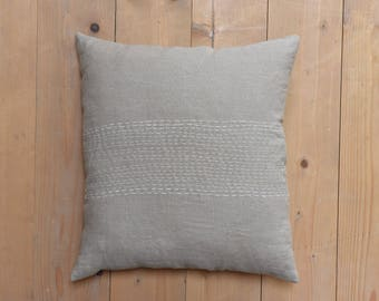 LINEN pillow case with handmade decorative stitching