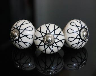 Black white Ceramic knob poignées de meubles Cabinet Möbelknopf Dresser Keramik knöpfe drawer Bouton Perillas -Price is for 1 knob (OHK0150)