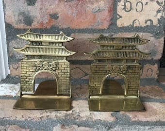 Brass Pagoda Bookends- Vintage