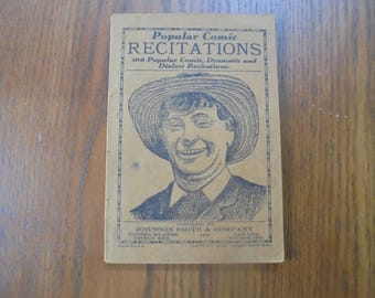 Vintage Book 'Popular Comic Recitations', 1936