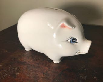 Small White Ceramic Piggy Bank, White Piggy Bank, Baby Girl Gift, Small Vintage Piggy Bank No Stopper Must Break, White Pig Figurine