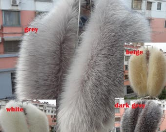 Fur Collar Scarves Faux Fox Fur Collar Scarf Imitation Raccoon Shawl Length: 80cm- 4 Colors