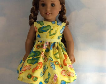 "Summer fun flip flops dress fits 18"" American girl dolls"