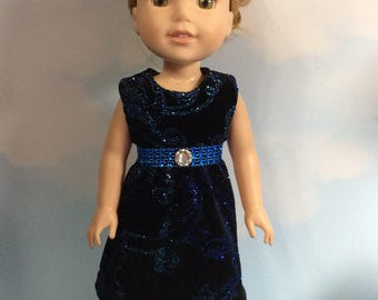 "Velvet dress in black with sparkling blue metallic accents fits 14.5"" Wellie Wishers and dolls similar to size"