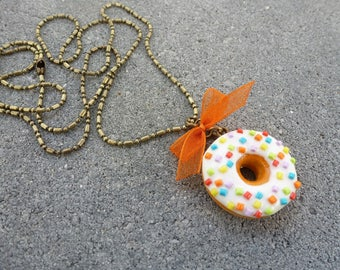 LONG NECKLACE HANDMADE POLYMER CLAY JEWELRY GOURMET CREATION ORIGINAL MULTICOLORED BRONZE OLD WHITE DONUT GIFT IDEA