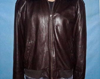 LEVIS collar Shearling leather bomber jacket size xl/xxL very good condition