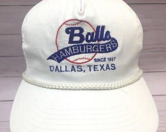 Vintage Ball's Hamburgers Baseball Hat Dallas Tx Slideback Cap
