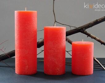 """Orange Big Rustic Pillar Candle Set 120 x 85 mm (4.7 x 3.3""""), 180 x 85 mm (7.1 x 3.3"""")  240 x 85 mm (9.5 x 3.3"""")"""