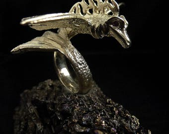 Silver ring, fantasy ring, Dragon ring, Gothic jewelry, sterling silver