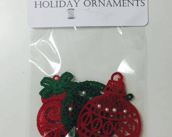 100% Thread Holiday Ornaments, Tree Ornaments, Sewn Tree Embellishments, Embroidered Ornaments, Baubles