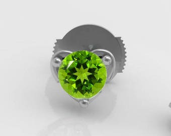 """Peridot - Collection """"Eros"""" and """"Eros"""" - Silver earrings"""