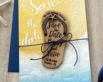 Flip flop Beach wedding Save-the-Date Magnets Set 10
