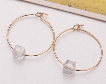 Gold plated round hoop earrings, Simple circle geometric thin earrings, White square gemstone crystal earrings, Womens elegant earrings G14