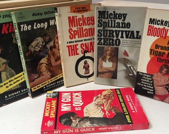 "Pulp Fiction 5 books Mickey Spillane Retro/Mystery/Thriller Paperback Dime store ""Tough Guy"" Novels"