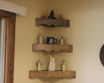Set of three handmade decorator wood corner shelves with decorated edge on face