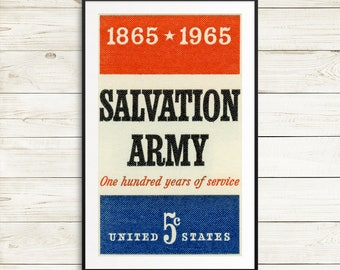 Salvation Army poster, salvation army stamp, charity poster, salvation army wall art, vintage stamp art, USA stamp art, postage stamp art