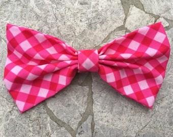 Hot pink plaid print hair bow/ bow tie