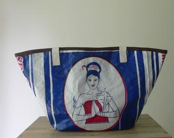 Upcycled tote handbag handcrafted from a rice bag