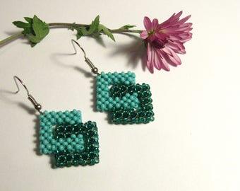 Double Square Earrings, Turquoise Earrings, Emerald Earrings, Geometric Earrings, Square Beaded Earrings, Turquoise Beaded Earrings