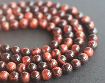 "4mm 6mm 8mm 10mm 12mm 14mm  Red Tigereye Beads,Natural Round Tigereye Beads,15 "" one strand"