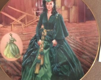 """1993 Gone With The Wind """" The Green Drapery Dress"""" collectors plate"""