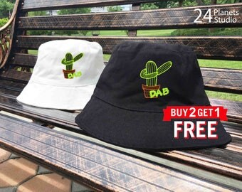 Dab Cactus Embroidered Bucket Hat by 24PlanetsStudio