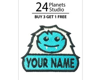 "YETI ""Your Name"" Iron on Patch by 24PlanetsStudio Your Text Custom Made DIY"