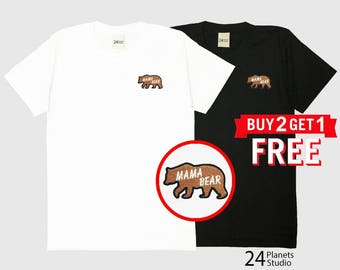 Mama Bear Embroidered T-Shirt by 24PlanetsStudio