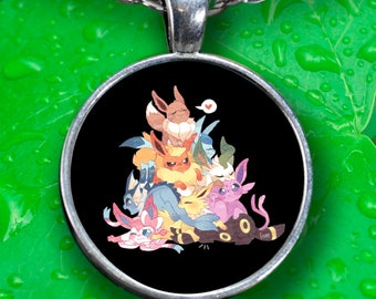 "Necklace Pokemon EEVEE! Espeon, Glaceon, Sylveon, Jolteon, Vaporeon, Umbreon, Leafeon, Flareon in cute pile 22"" Silver Necklace With Charm!"