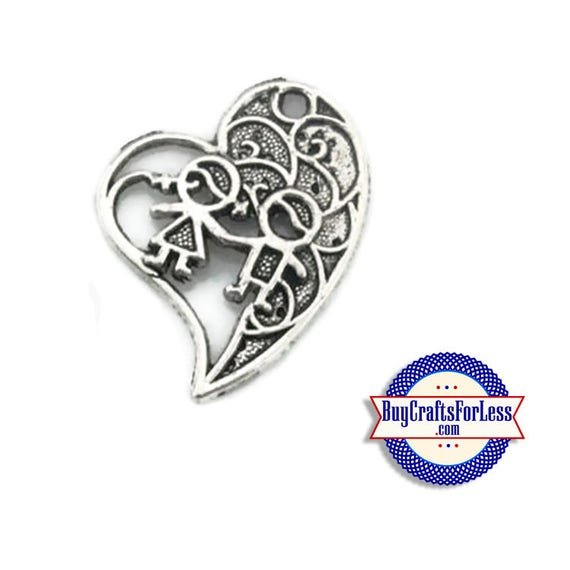 HEART and KIDs Charms, Silver Finish, 6 pcs +FREE SHiPPiNG & Discounts**