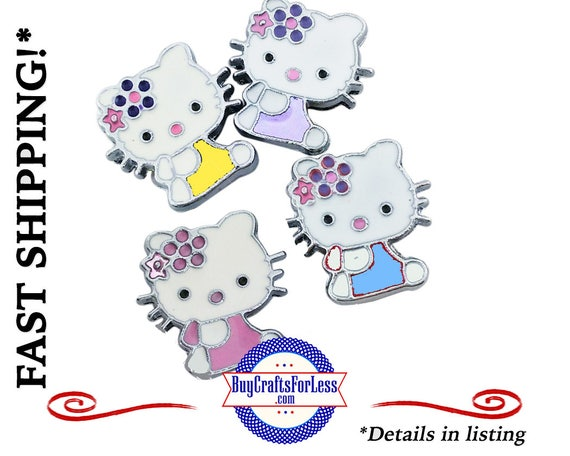 KITTY Cartoon SLIDER Charm for 8mm Bracelets, Collars, Key Rings  4 Colors +FREE Shipping & Discounts*