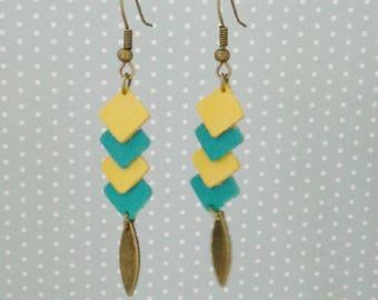 Mini geometric earrings diamond leather green and yellow dahlia, spring summer