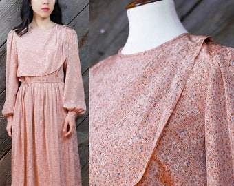 Romantic pink dress with delicate green & blue florals, leaves / Japanese Vintage / Feminine / Victorian / 60s / 70s / Shimmery / Size XS-S