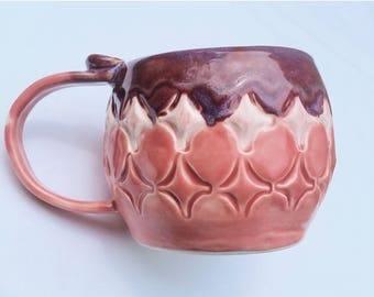 10% off handmade pink pottery mug with handmade stamps