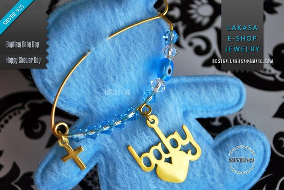 Heart Baby Brooch Sterling Silver Gold Blue Swarovski Crystals Jewelry Best idea Gift Baptism Christian Cross Birthday Mother Mommy Boy