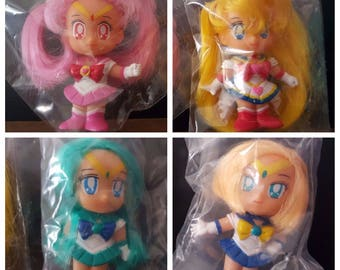 Super Sailor Moon + Super Chibi Moon + Sailor Neptune + Sailor Uranus figure dolls