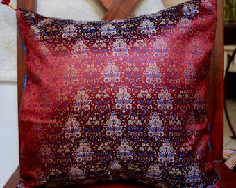 Series Damascus D: Cushion cover 40x40cm (16 x 16 inches) Syrian silk brocade with blue dupioni silk.