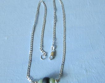 Sterling Silver Chain Necklace With Beads.