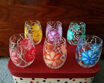 Set of 6 hand painted Stemless wine glasses