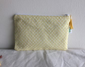 Yellow and white pattern makeup/pouch clutch