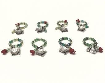 Wine stem glass charms, Jeweled Wine charm set, wine glass charms, Red and Green beads charmed wine glasses
