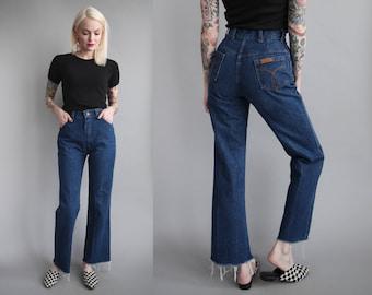 "Vtg 70s High Waist Flare Leg Jeans 25.5"" Waist sz S"