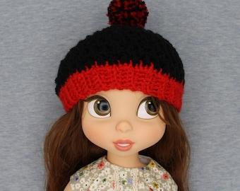 Red Black hat beanie for  Disney Animator Doll