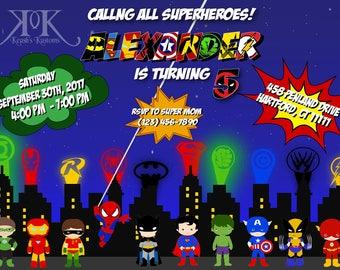 Superhero Birthday Invitation, Superhero Birthday Invite