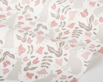 Dailylike cotton - Botanic garden rabbit  Fabric- 50cm