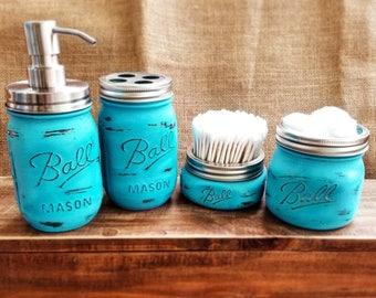 Four Piece Mason Jar Bath Set