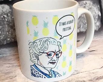 Mrs Doubtfire 90's movie hand illustrated ceramic white mug. 325ml. Boxed.