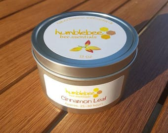 8 OZ {Cinnamon Leaf} candle tin - Beeswax combined with cinnamon leaf essential oil