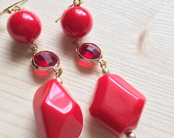 Pearls of passion, red earrings with crystals.