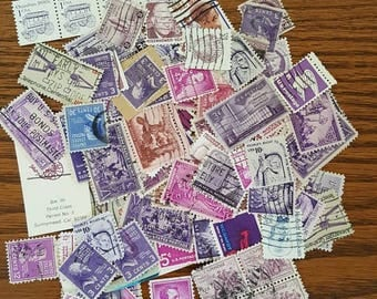 More than 100 purple themed used vintage US postage stamps for crafting scrapbooking or collecting